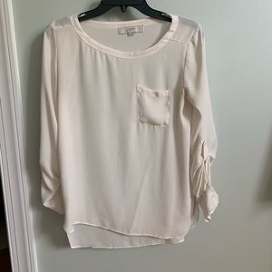 Loft cream sheer blouse